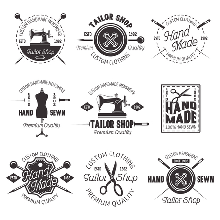 Illustration for Tailor shop set of vector black emblems, labels and badges isolated on white background - Royalty Free Image