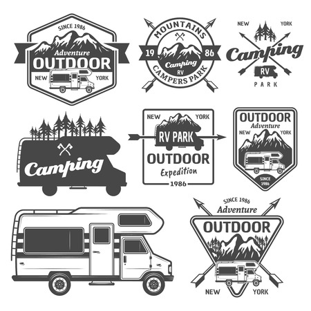 Illustration pour Set of rv camping, outdoor recreation with mountains and camper van vector monochrome labels, emblems, badges and design elements isolated on white background - image libre de droit