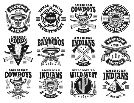 Illustration pour Wild west set of twelve vector emblems, labels, badges or logos with skull of cowboy, indian chief, mexican bandit in vintage monochrome style isolated on white background - image libre de droit
