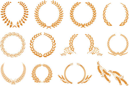 Illustration for Various golden laurel wreaths isolated on white background - Royalty Free Image