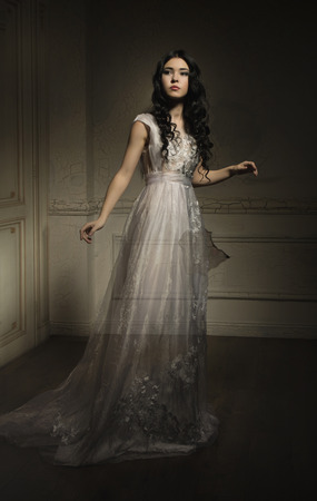 Photo for Beautiful ghost girl in white dress - Royalty Free Image