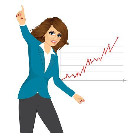 Illustration pour portrait of successful young business woman happy for her success - image libre de droit