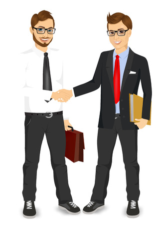 Illustration for two young businessmen with glasses shaking hands happy standing negotiating - Royalty Free Image