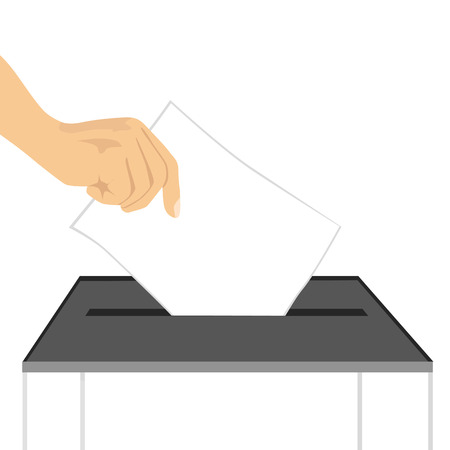 Illustration pour illustration of a hand putting ballot paper in ballot box isolated on white background - image libre de droit