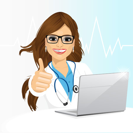 Ilustración de Portrait of young female doctor with glasses using her laptop computer isolated on white background - Imagen libre de derechos