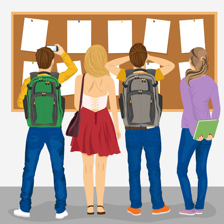 Ilustración de back view of college students looking at a bulletin board - Imagen libre de derechos