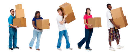Photo for A group of college students and friends carrying moving boxes on a white background - Royalty Free Image