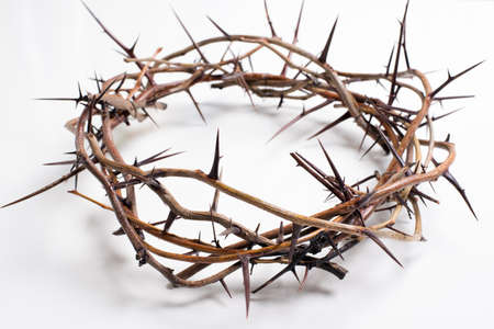 Photo pour Crown of thorns on a white background Easter religious motif commemorating the resurrection of Jesus- Easter - image libre de droit