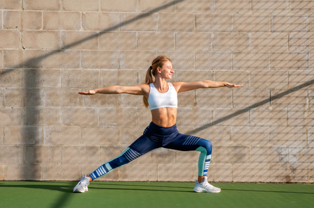 Photo pour Healthy lifestyle and yoga concepts. Fitness woman in sportswear is doing exercise on the wall - image libre de droit
