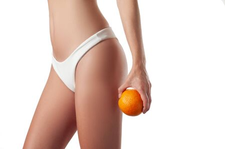 Photo pour Skin care and anti cellulite massage. Perfect female buttocks without cellulite in panties. Beautiful woman body - image libre de droit