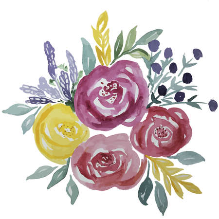 Ilustración de Watercolor roses bouquet with green leaves and ornaments - Imagen libre de derechos