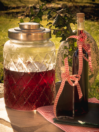 Foto de photo shows how to preserve fruits in alcohol/ DIY homemade raspberry liqueur - Imagen libre de derechos