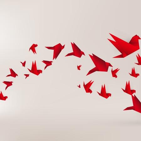 Illustration pour Origami paper bird on abstract background - image libre de droit