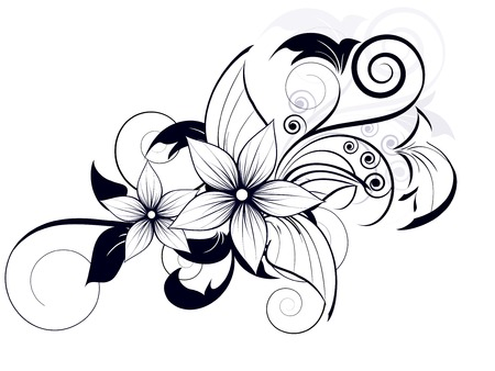 Illustration pour floral design element with swirls for spring - image libre de droit