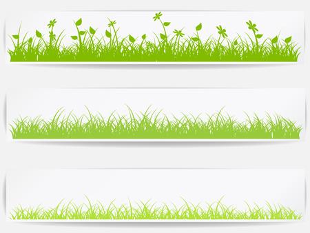 Ilustración de Set of  backgrounds with vector green grass - Imagen libre de derechos