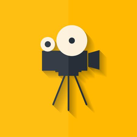 Illustration pour Video camera icon. Media symbol. Flat design. - image libre de droit