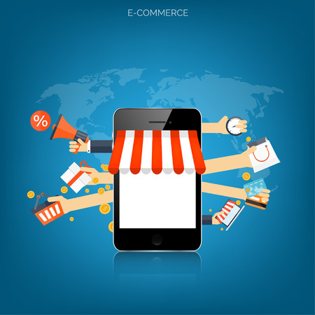 Illustration pour Internet shopping concept. E-commerce. Online store. Web money and payments. Pay per click. - image libre de droit