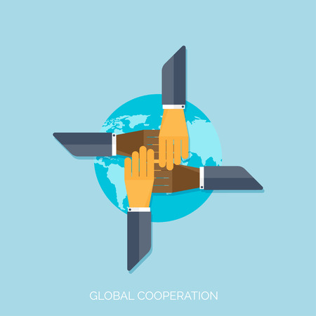 Illustration pour Flat hands. Global cooperation concept background. Business and moneymaking. Marketing and management. Teamwork and brainstorm. - image libre de droit