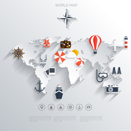 Illustration pour Abstract map.World travel concept background.  Flat icons. Tourism concept image.Holidays and vacation.Sea, ocean, land, air travelling. - image libre de droit