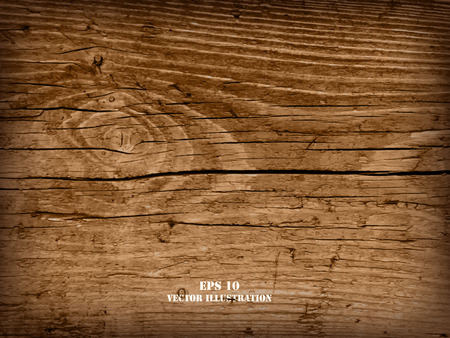 Ilustración de Realistic highly detalized wood background. Old wooden plank. - Imagen libre de derechos
