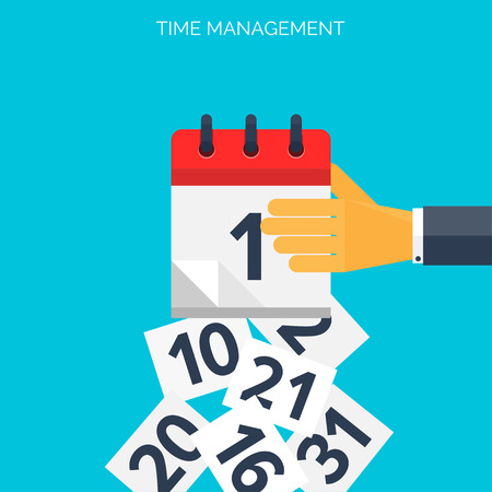 Illustration pour Flat calendar icon. Date and time background. Time management concept. - image libre de droit