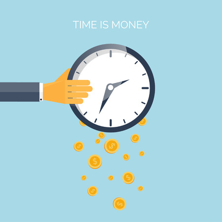 Illustration pour Flat time is money concept background. Movey saving. Time management - image libre de droit