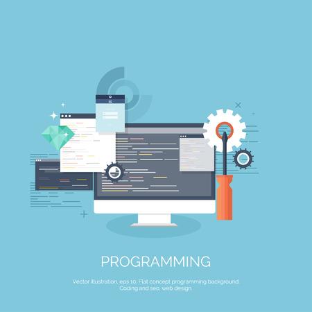 Ilustración de Vector illustration. Flat computing background. Programming,coding. Web development and search. SEO. Innovation, technologies. Mobile app. Development, optimization. - Imagen libre de derechos