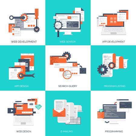 Illustration pour Vector illustration. Flat computing background. Programming,coding. Web development and search. SEO. Innovation, technologies. Mobile app. Development, optimization. - image libre de droit