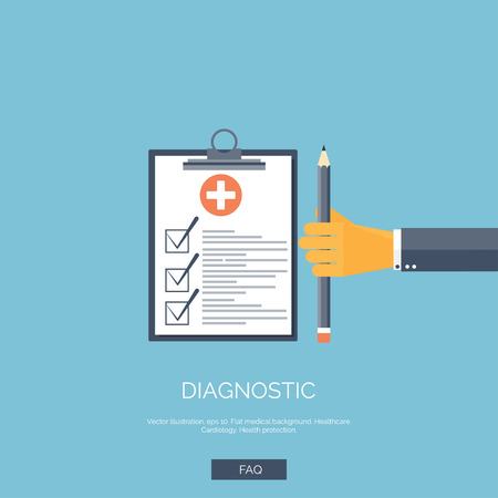 Illustration pour Vector illustration. Flat background with hand and medical report. First aid, diagnostic. - image libre de droit
