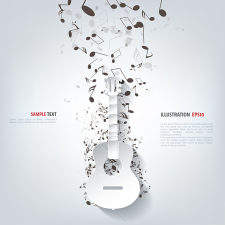 Illustration for Guitar icon. Music background - Royalty Free Image