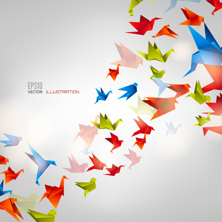 Ilustración de Origami paper bird on abstract background - Imagen libre de derechos