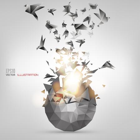 Ilustración de Origami paper bird on abstract background - Imagen libre de derechos