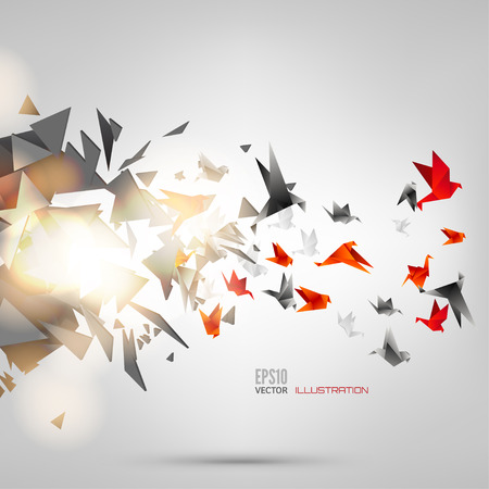 Foto de Origami paper bird on abstract background - Imagen libre de derechos