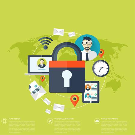 Illustration pour Flat padlock icon. Data protection concept. Social network security - image libre de droit