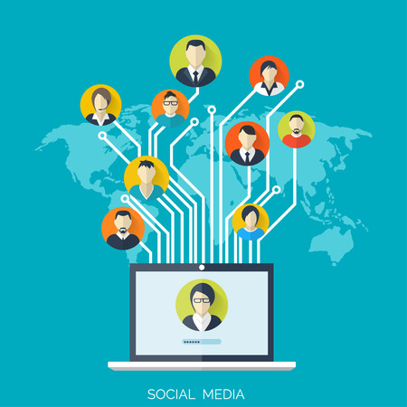 Ilustración de Flat social media and network concept. Business background, global communication. Web site profile avatars. Connection between people. Forum map. - Imagen libre de derechos