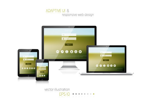 Illustration for Responsive web design. Adaptive user interface. Digital devises. Laptop, tablet, monitor, smartphone. Web site template concept. - Royalty Free Image