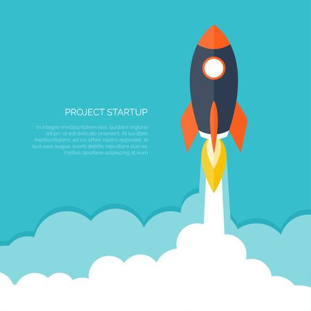Illustration pour Flat rocket icon. Startup concept. Project development. - image libre de droit