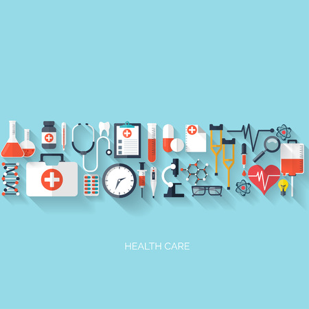 Illustration pour Flat health care and medical research background. Healthcare system concept. Medicine and chemical engineering. - image libre de droit