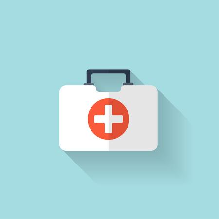 Illustration pour First aid kit flat icon. Health care. - image libre de droit