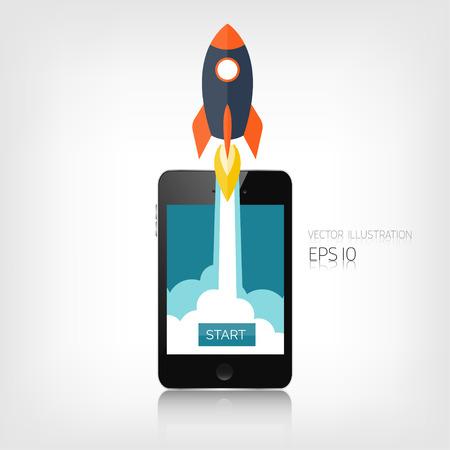 Illustration pour Flat rocket icon. Startup concept. Project development. Realistic smartphone. - image libre de droit