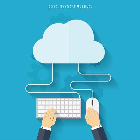 Illustration pour Flat cloud computing background. Data storage network technology. Multimedia content and web sites hosting. - image libre de droit