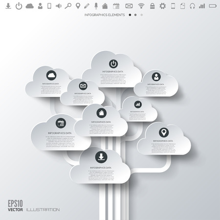 Illustration pour Cloud icon. Flat abstract background with web icons. Interface symbols. Cloud computing. Mobile devices.Business concept. - image libre de droit