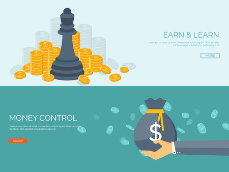Illustration pour Vector illustration. Flat background with hand and money bag. Money making. Bank deposit.  Financials. - image libre de droit