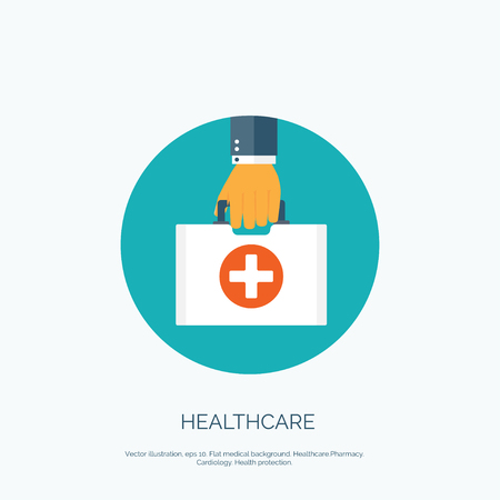 Illustration pour Vector illustration. Flat background with hand and medical bag. Healthcare and first aid kit. Diagnostics. - image libre de droit