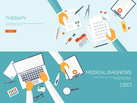 Illustration pour Vector illustration. Flat medical background. First aid and diagnostic. Medical research and therapy. Global healthcare. - image libre de droit
