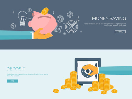Illustration pour Flat vector illustration backgrounds set. Piggy bank and deposit. Money  saving and money making. Web payments. World currency. Internet store, shopping. Pay per click. Business. - image libre de droit