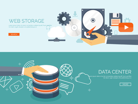 Illustration pour Vector illustration. Flat cloud computing background. Data storage network technology. Multimedia content and web sites hosting. Memory and information transfer. - image libre de droit