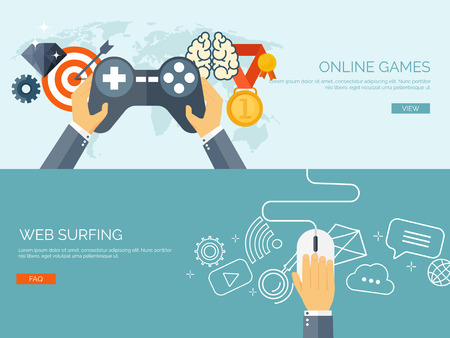 Illustration pour Vector illustration. Online games. Joystick and mouse. Web surfing. Player and gamepad. Entertainment. Internet. - image libre de droit