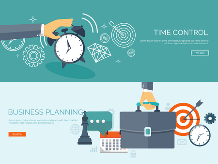 Illustration pour Flat business background. Portfolio. Time management. Alarm. Planning. Aims and smart solutions. - image libre de droit