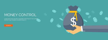 Ilustración de Vector illustration. Flat background with hand and money bag. Money making. Bank deposit.  Financials. - Imagen libre de derechos